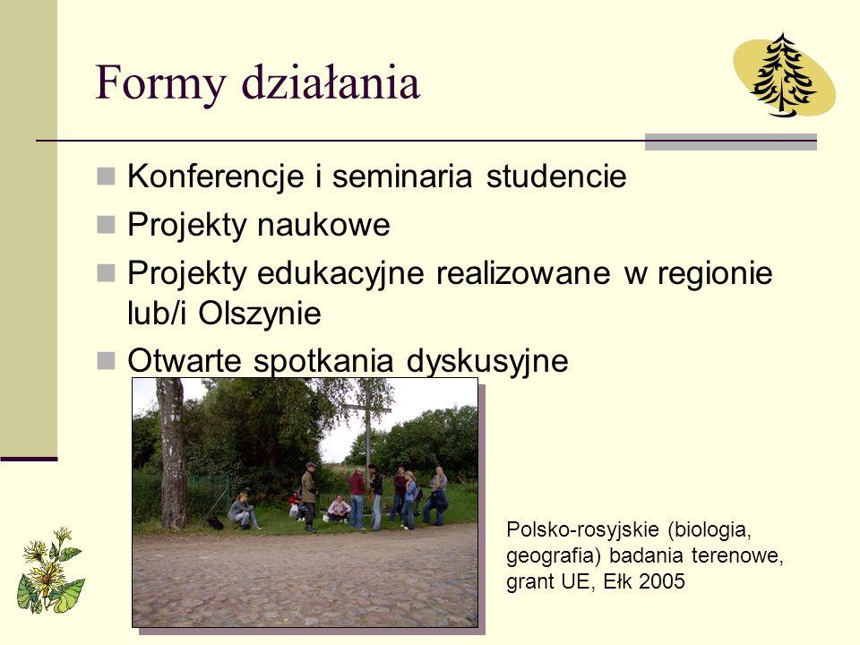 Formy działania Konferencje i seminaria studencie Projekty naukowe Projekty edukacyjne realizowane w regionie lub/i Olszynie Otwarte spotkania dyskusy