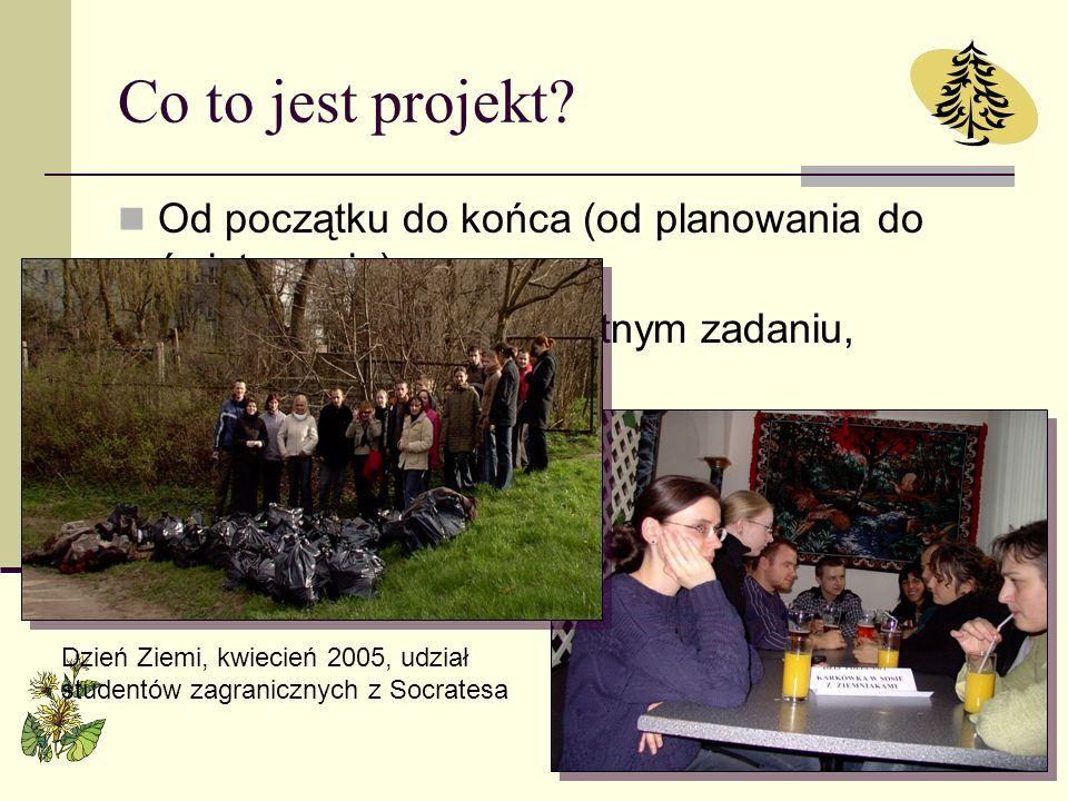Co to jest projekt? Od początku do końca (od planowania do świętowania) Skupienie się na konkretnym zadaniu, przedsięwzięciu Zbliżenie do rzeczywistoś