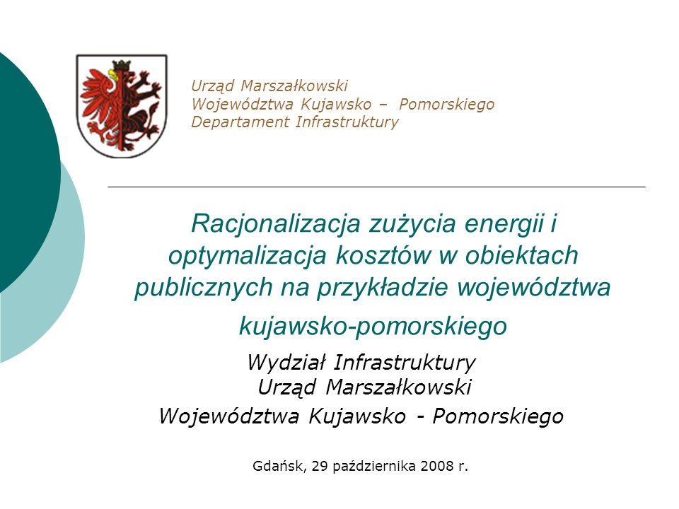 Racjonalizacja zużycia energii i optymalizacja kosztów w obiektach publicznych na przykładzie województwa kujawsko-pomorskiego Wydział Infrastruktury