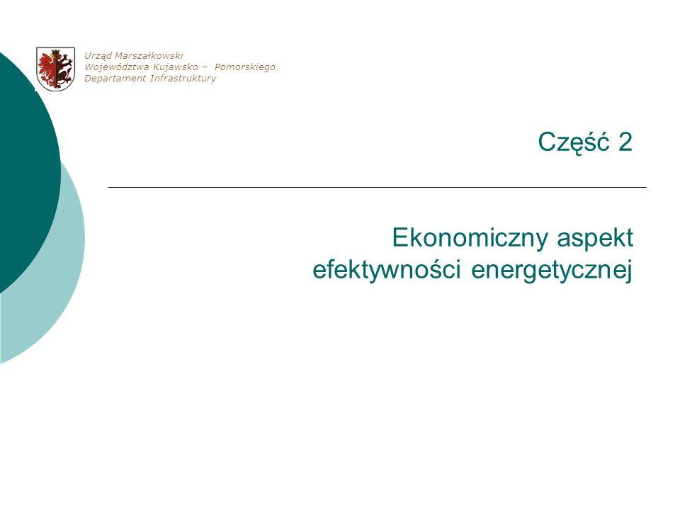 Część 2 Ekonomiczny aspekt efektywności energetycznej Urząd Marszałkowski Województwa Kujawsko – Pomorskiego Departament Infrastruktury