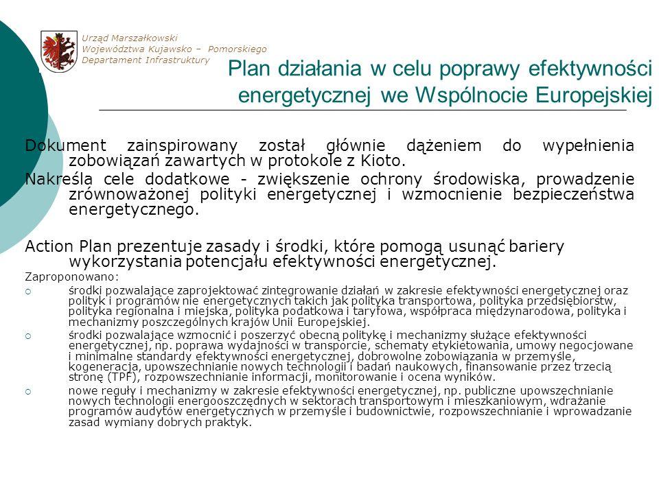 Plan działania w celu poprawy efektywności energetycznej we Wspólnocie Europejskiej Dokument zainspirowany został głównie dążeniem do wypełnienia zobo
