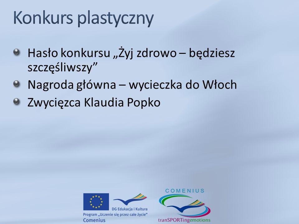 Hasło konkursu Żyj zdrowo – będziesz szczęśliwszy Nagroda główna – wycieczka do Włoch Zwycięzca Klaudia Popko