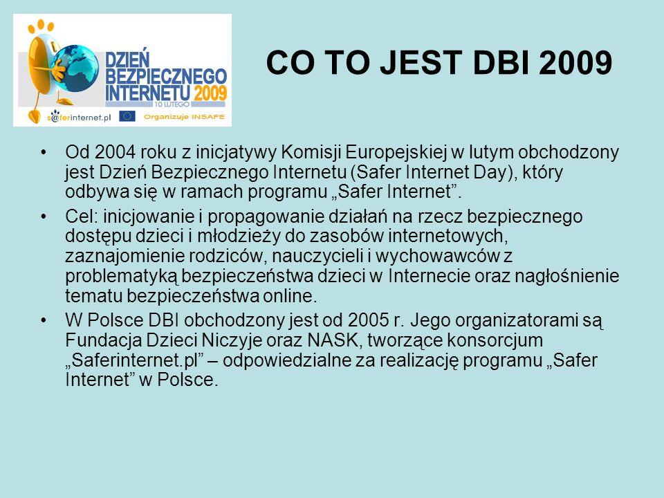 CO TO JEST DBI 2009 Od 2004 roku z inicjatywy Komisji Europejskiej w lutym obchodzony jest Dzień Bezpiecznego Internetu (Safer Internet Day), który od