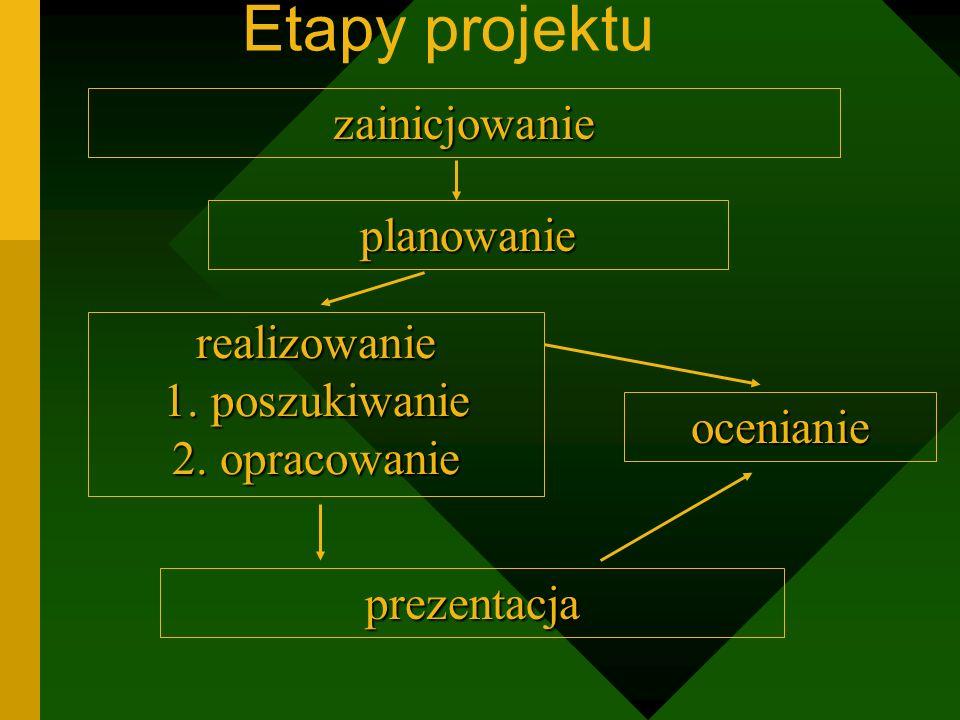 Etapy projektuplanowanie zainicjowanie realizowanie 1.poszukiwanie 2.opracowanie ocenianie prezentacja