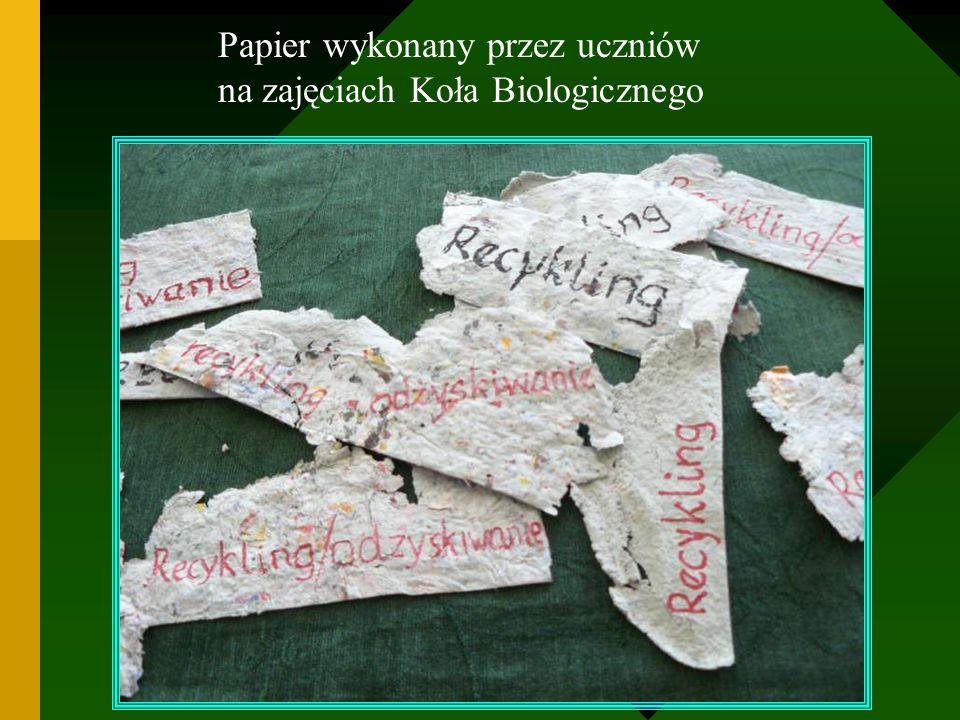 Papier wykonany przez uczniów na zajęciach Koła Biologicznego