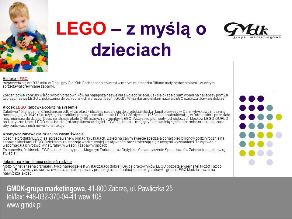 Główne założenia akcji Promocja zabawy z Lego Budowanie przyjaznego wizerunku Państwa firmy Dostarczenie dzieciom atrakcji w postaci możliwości obejrzenia gotowych figur z klocków LEGO, zbudowania własnego modelu, zabawa przy stolikach.