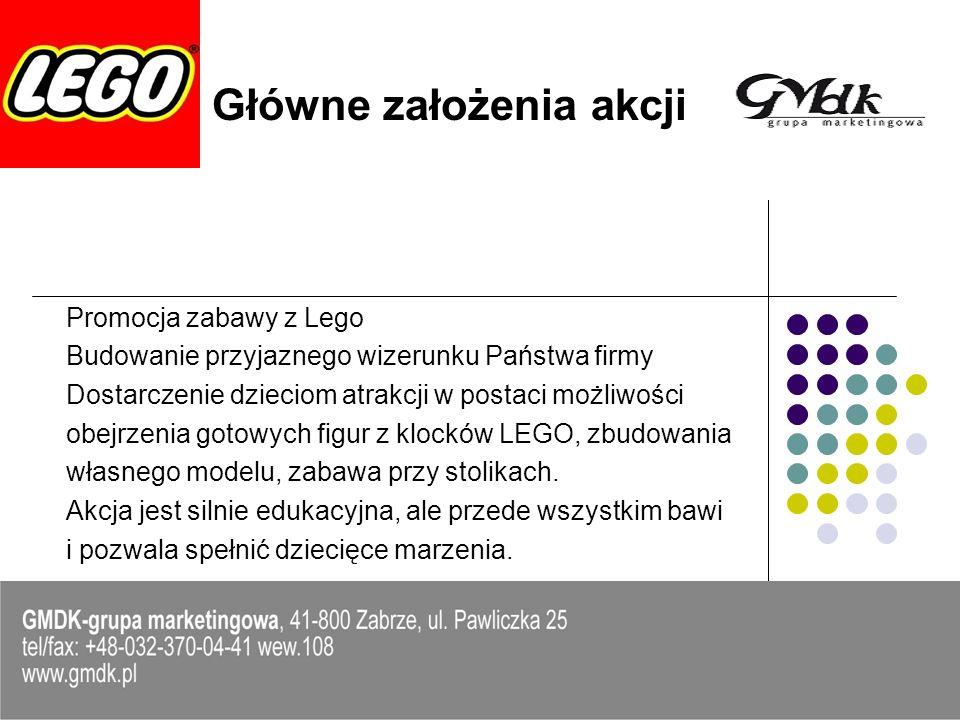 Elementy akcji Wystawa figur Lego Słoń, Clown, Żyrafa, Słoń 2, Lew i Winner Gabloty – Lego Star Wars i Lego City Stoliczki z systemem Lego Animacje – Wielkie Budowanie Boba Budowniczego z kilkunastu tysięcy klocków Warsztaty Robocamp