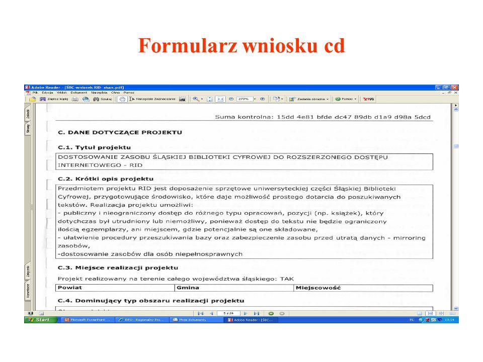 Formularz wniosku cd