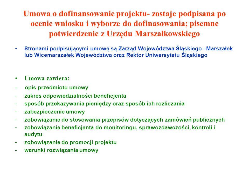 Umowa o dofinansowanie projektu- zostaje podpisana po ocenie wniosku i wyborze do dofinasowania; pisemne potwierdzenie z Urzędu Marszałkowskiego Stronami podpisującymi umowę są Zarząd Województwa Śląskiego –Marszałek lub Wicemarszałek Województwa oraz Rektor Uniwersytetu Śląskiego Umowa zawiera: - opis przedmiotu umowy -zakres odpowiedzialności beneficjenta -sposób przekazywania pieniędzy oraz sposób ich rozliczania -zabezpieczenie umowy -zobowiązanie do stosowania przepisów dotyczących zamówień publicznych -zobowiązanie beneficjenta do monitoringu, sprawozdawczości, kontroli i audytu -zobowiązanie do promocji projektu -warunki rozwiązania umowy