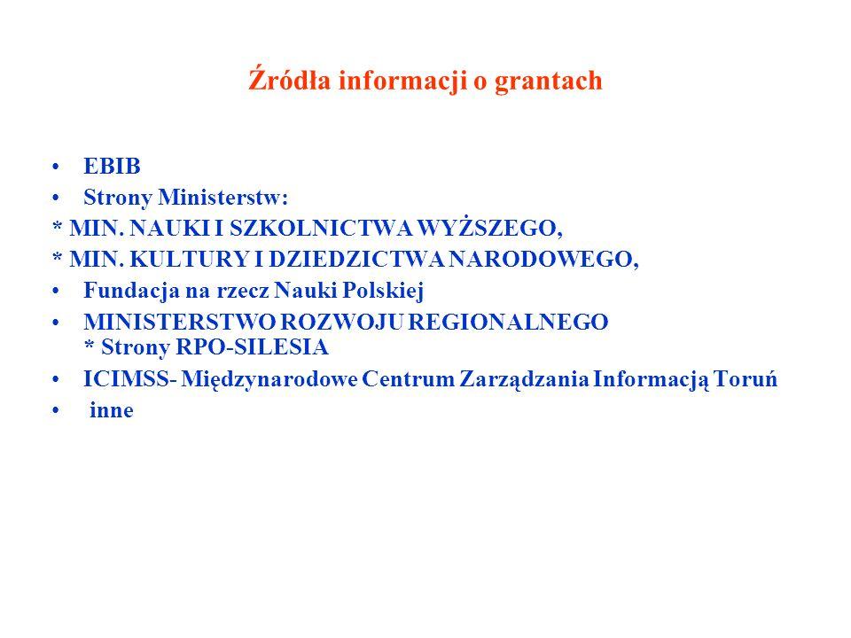Źródła informacji o grantach EBIB Strony Ministerstw: * MIN.