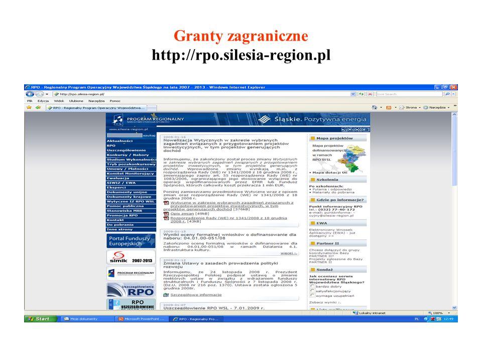 Granty zagraniczne http://rpo.silesia-region.pl