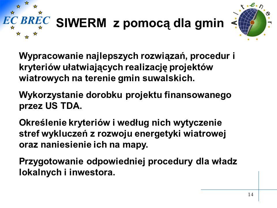 14 Wypracowanie najlepszych rozwiązań, procedur i kryteriów ułatwiających realizację projektów wiatrowych na terenie gmin suwalskich. Wykorzystanie do