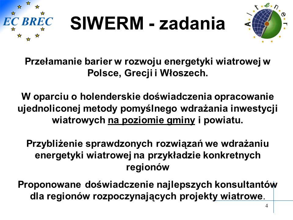 4 SIWERM - zadania Przełamanie barier w rozwoju energetyki wiatrowej w Polsce, Grecji i Włoszech. W oparciu o holenderskie doświadczenia opracowanie u