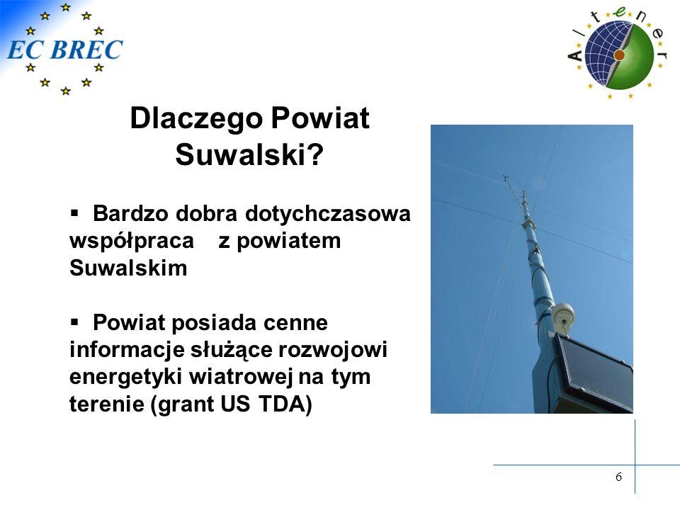 6 Dlaczego Powiat Suwalski? Bardzo dobra dotychczasowa współpraca z powiatem Suwalskim Powiat posiada cenne informacje służące rozwojowi energetyki wi