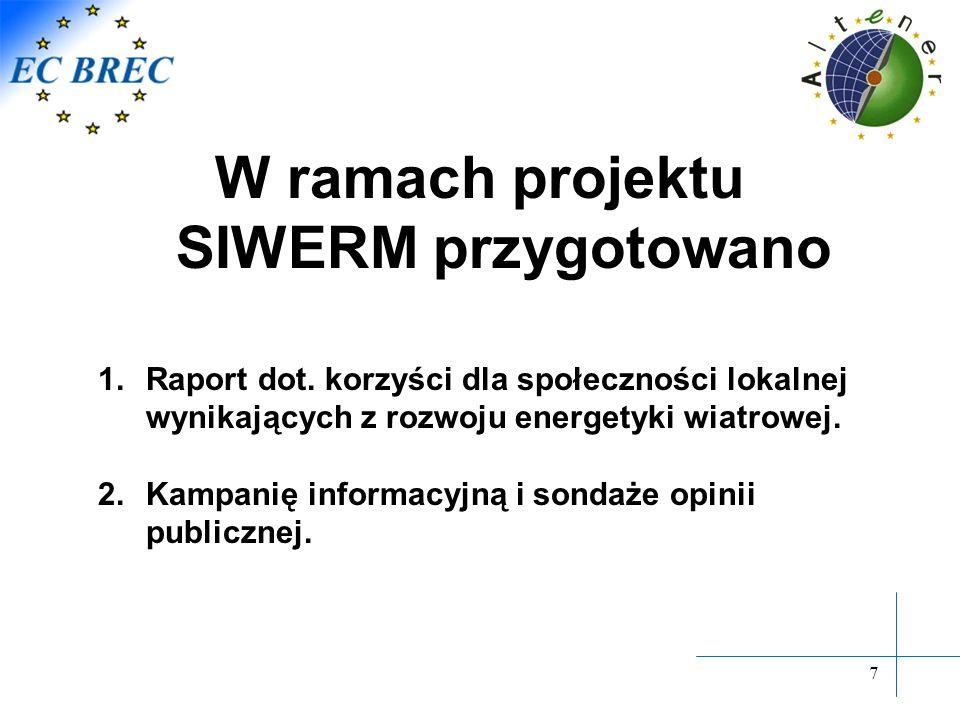 7 W ramach projektu SIWERM przygotowano 1.Raport dot. korzyści dla społeczności lokalnej wynikających z rozwoju energetyki wiatrowej. 2.Kampanię infor