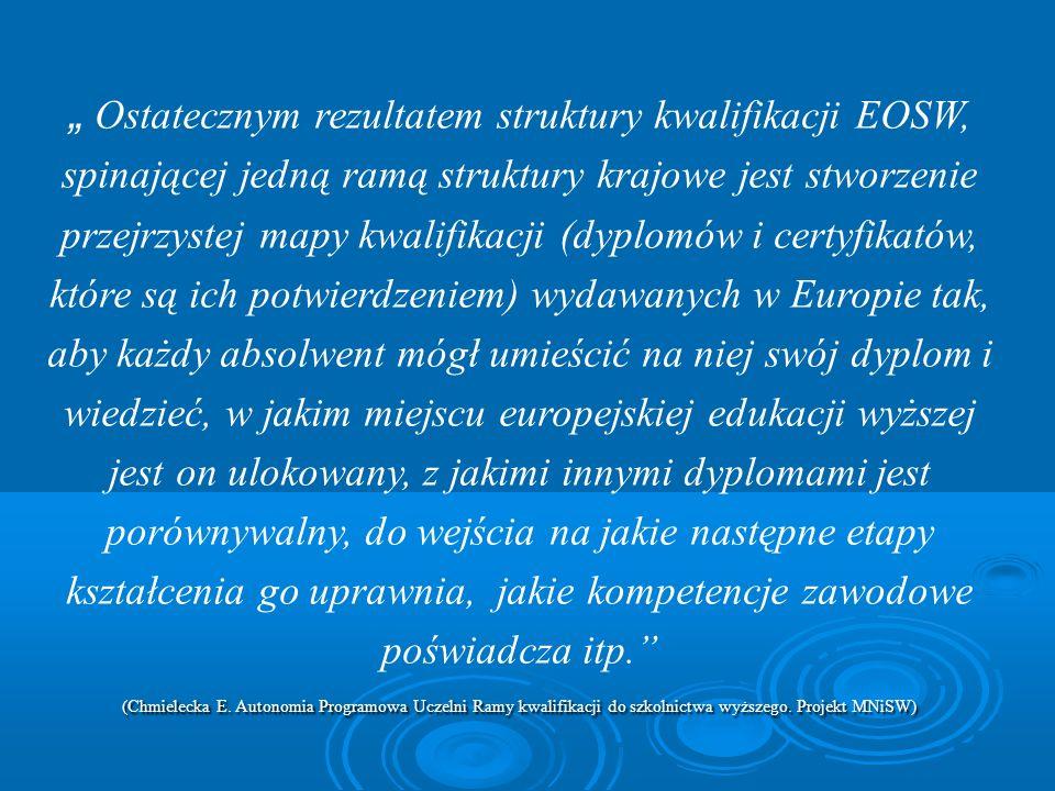 Ostatecznym rezultatem struktury kwalifikacji EOSW, spinającej jedną ramą struktury krajowe jest stworzenie przejrzystej mapy kwalifikacji (dyplomów i