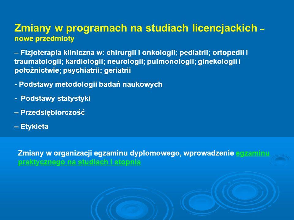 Zmiany w programach na studiach licencjackich – nowe przedmioty – Fizjoterapia kliniczna w: chirurgii i onkologii; pediatrii; ortopedii i traumatologi