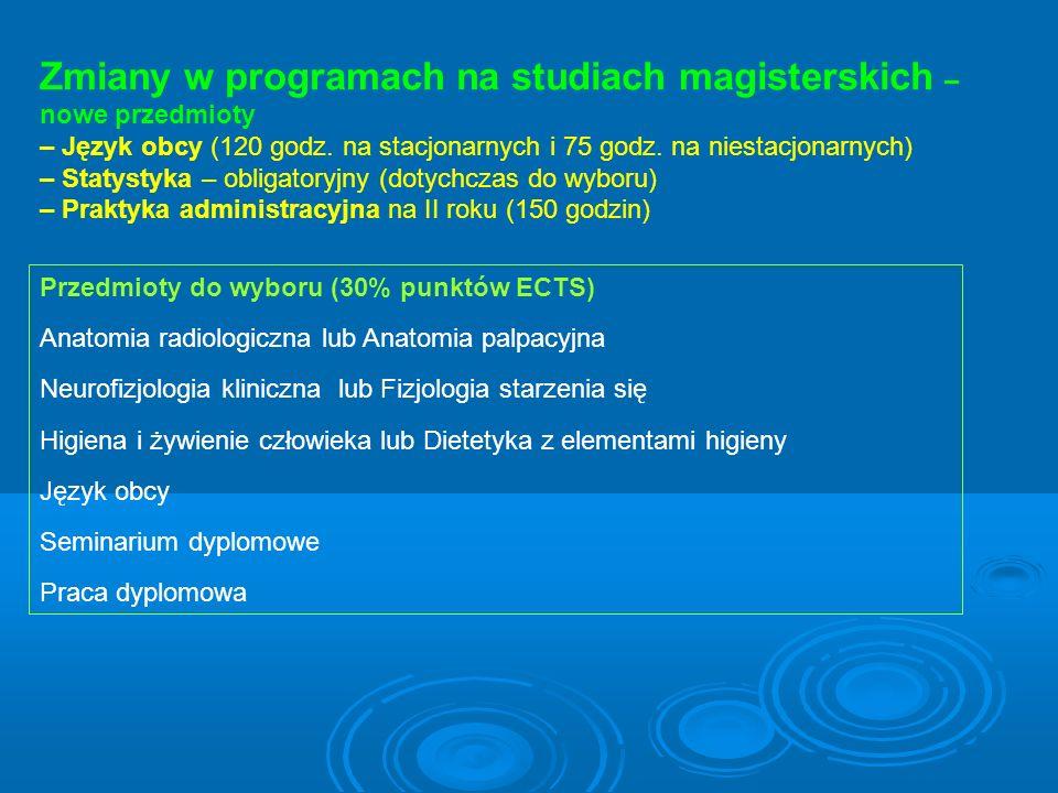 Zmiany w programach na studiach magisterskich – nowe przedmioty – Język obcy (120 godz. na stacjonarnych i 75 godz. na niestacjonarnych) – Statystyka