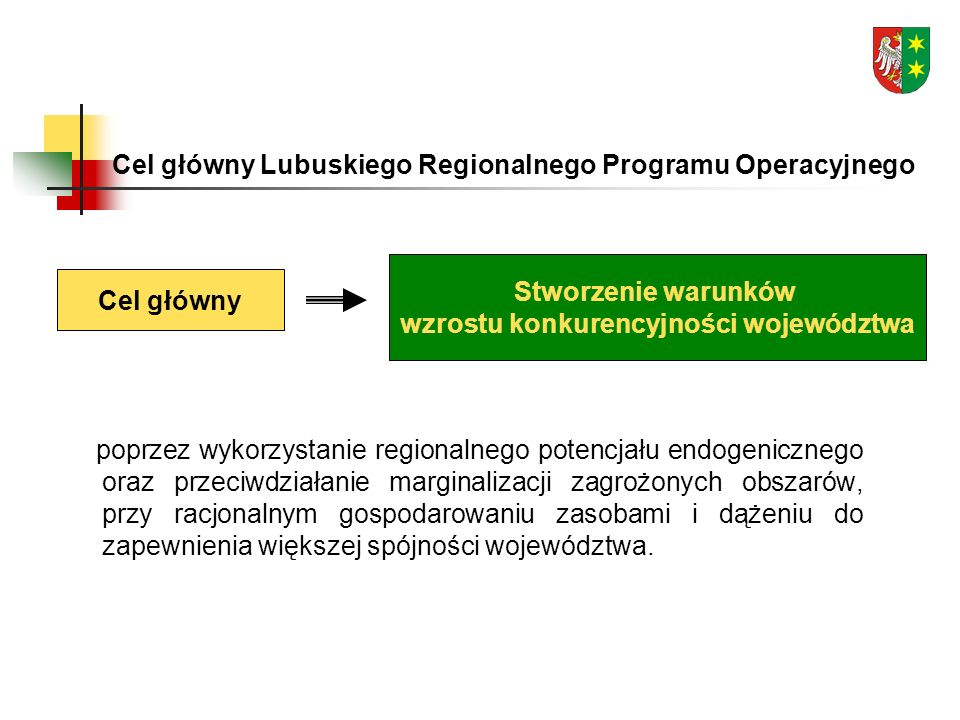 Cel główny Lubuskiego Regionalnego Programu Operacyjnego poprzez wykorzystanie regionalnego potencjału endogenicznego oraz przeciwdziałanie marginalizacji zagrożonych obszarów, przy racjonalnym gospodarowaniu zasobami i dążeniu do zapewnienia większej spójności województwa.