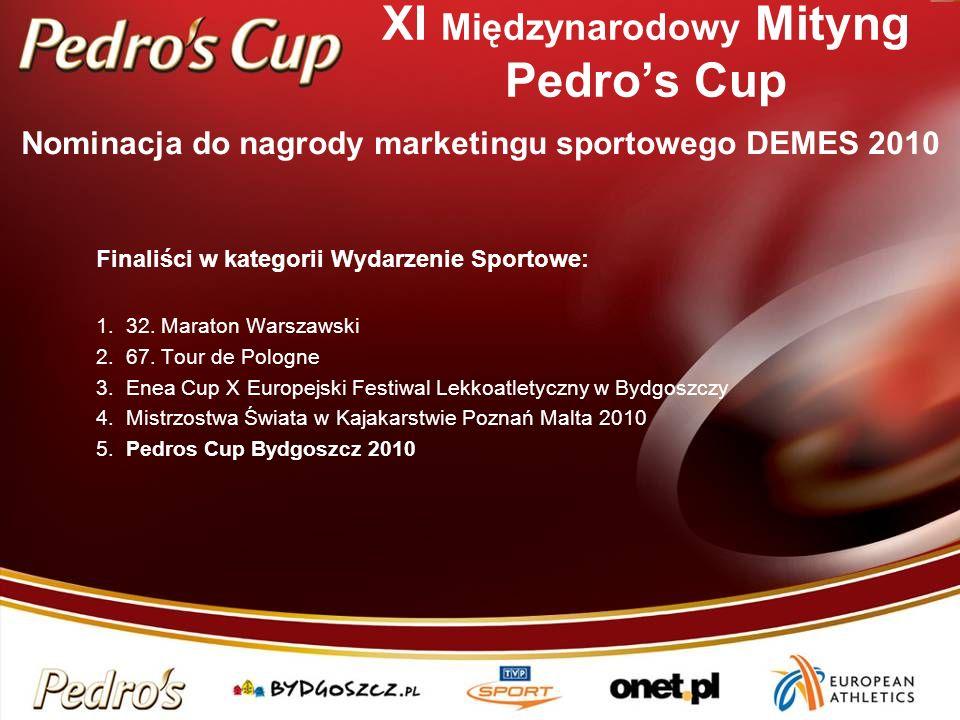 XI Międzynarodowy Mityng Pedros Cup Finaliści w kategorii Wydarzenie Sportowe: 1. 32. Maraton Warszawski 2. 67. Tour de Pologne 3. Enea Cup X Europejs