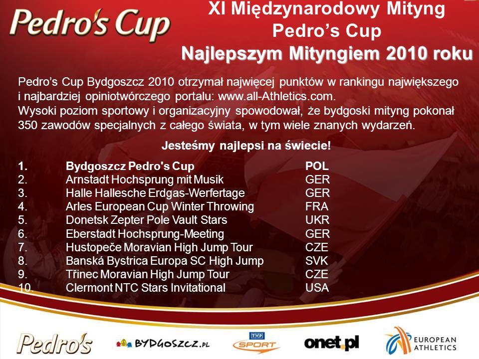 Najlepszym Mityngiem 2010 roku XI Międzynarodowy Mityng Pedros Cup Najlepszym Mityngiem 2010 roku Pedros Cup Bydgoszcz 2010 otrzymał najwięcej punktów w rankingu największego i najbardziej opiniotwórczego portalu: www.all-Athletics.com.