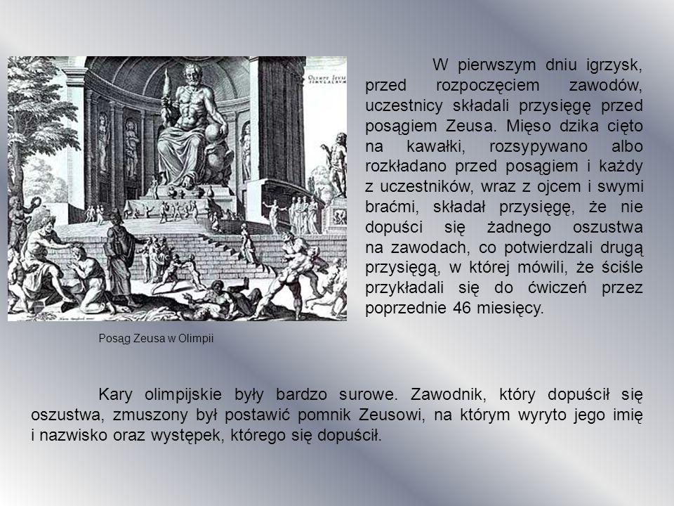 W pierwszym dniu igrzysk, przed rozpoczęciem zawodów, uczestnicy składali przysięgę przed posągiem Zeusa. Mięso dzika cięto na kawałki, rozsypywano al