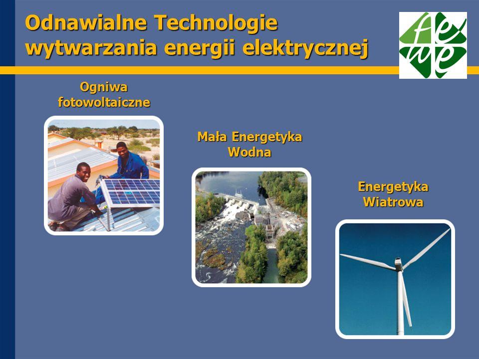 Odnawialne Technologie wytwarzania energii elektrycznej Ogniwa fotowoltaiczne Mała Energetyka Wodna Energetyka Wiatrowa