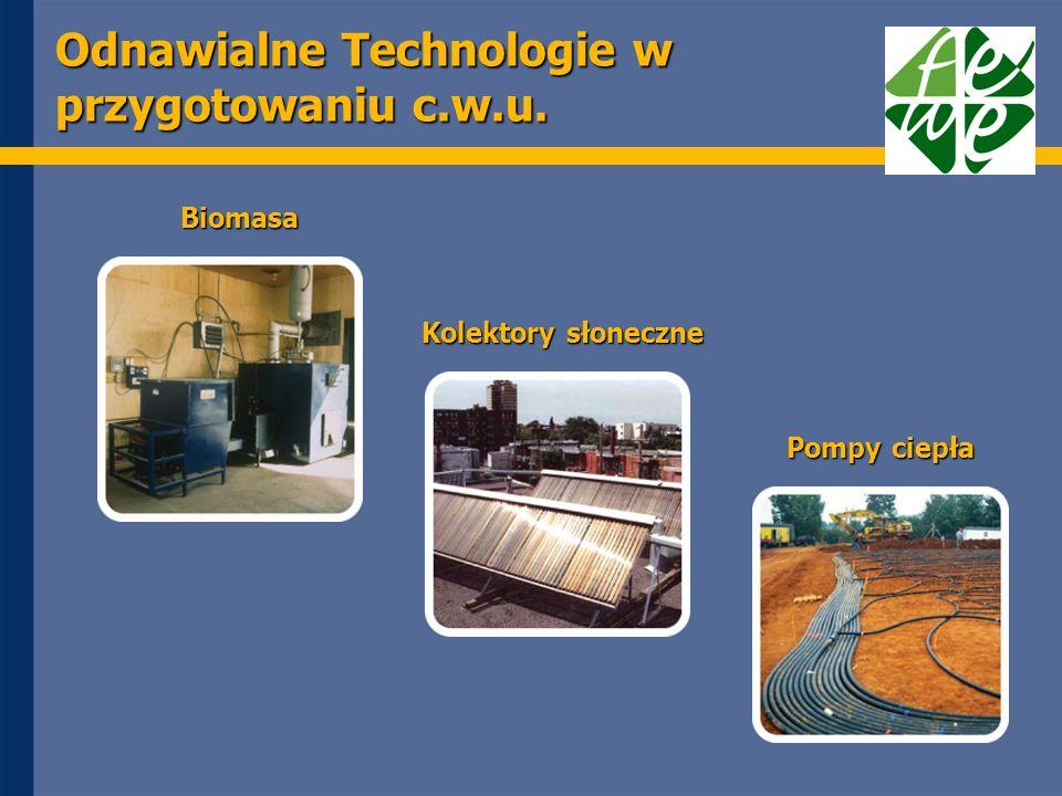 Odnawialne Technologie w przygotowaniu c.w.u. Biomasa Kolektory słoneczne Pompy ciepła