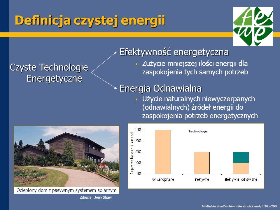Definicja czystej energii Efektywność energetyczna Zużycie mniejszej ilości energii dla zaspokojenia tych samych potrzeb Energia Odnawialna Użycie naturalnych niewyczerpanych (odnawialnych) źródeł energii do zaspokojenia potrzeb energetycznych Ocieplony dom z pasywnym systemem solarnym Zdjęcie : Jerry Shaw © Ministerstwo Zasobów Naturalnych Kanady 2001 – 2004.