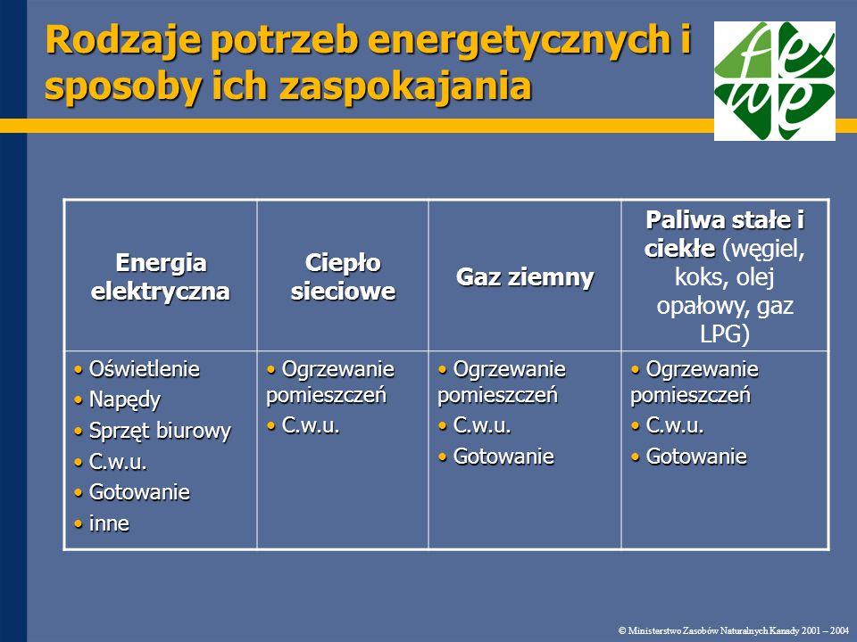 Rodzaje potrzeb energetycznych i sposoby ich zaspokajania © Ministerstwo Zasobów Naturalnych Kanady 2001 – 2004 Energia elektryczna Ciepło sieciowe Gaz ziemny Paliwa stałe i ciekłe Paliwa stałe i ciekłe (węgiel, koks, olej opałowy, gaz LPG) Oświetlenie Oświetlenie Napędy Napędy Sprzęt biurowy Sprzęt biurowy C.w.u.