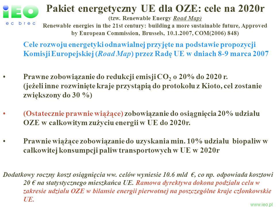 www.ieo.pl Potencjał techniczny odnawialnych zasobów energii w Polsce i stopień jego wykorzystania (2005) Aktualizacja potencjału oszacowanego w 2004r przez EC BREC dla Rządowego Centrum Studiów Strategicznych Zasoby Potencjał techniczny [PJ/rok] Wykorzystanie w 2005 r [%] Biomasa75524.7 Woda4914.3 Geotermia2200.2 Wiatr2810.2 Promieniowanie słoneczne 4450.04 RAZEM1750 (50% TPEC w PL) 11.1 (ok.