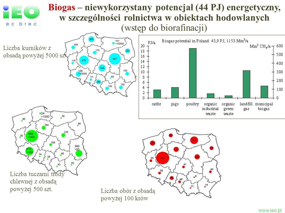 www.ieo.pl Liczba tuczarni trody chlewnej z obsadą powyżej 500 szt. Liczba kurników z obsadą powyżej 5000 szt Liczba obór z obsadą powyżej 100 krów Bi