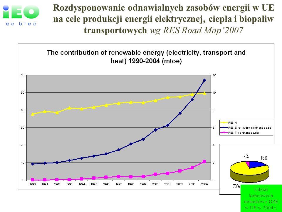 www.ieo.pl Rozdysponowanie odnawialnych zasobów energii w UE na cele produkcji energii elektrycznej, ciepła i biopaliw transportowych wg RES Road Map2