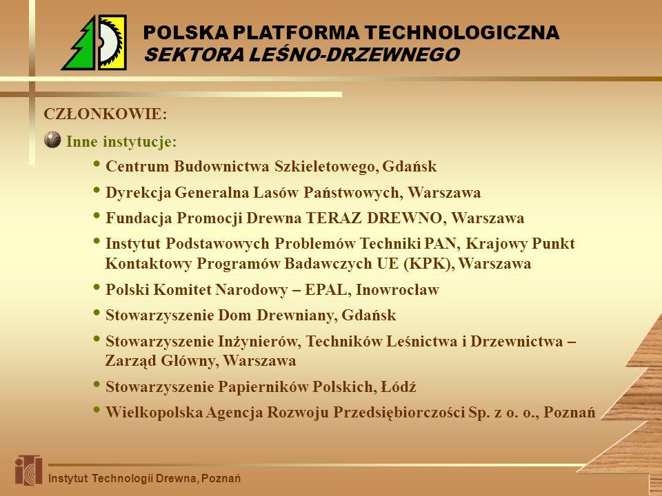CZŁONKOWIE: Centrum Budownictwa Szkieletowego, Gdańsk Dyrekcja Generalna Lasów Państwowych, Warszawa Fundacja Promocji Drewna TERAZ DREWNO, Warszawa I