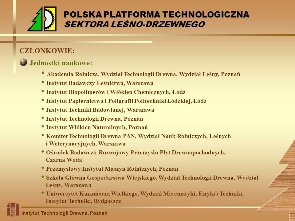 CZŁONKOWIE: Akademia Rolnicza, Wydział Technologii Drewna, Wydział Leśny, Poznań Instytut Badawczy Leśnictwa, Warszawa Instytut Biopolimerów i Włókien