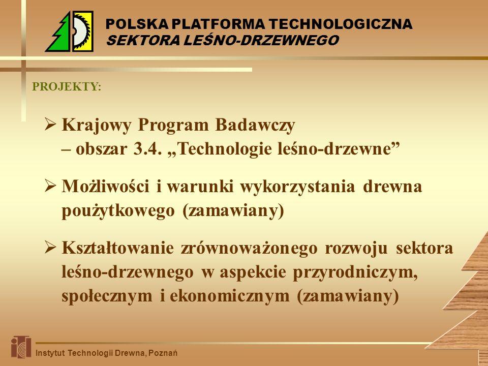 Krajowy Program Badawczy – obszar 3.4. Technologie leśno-drzewne Możliwości i warunki wykorzystania drewna poużytkowego (zamawiany) Kształtowanie zrów
