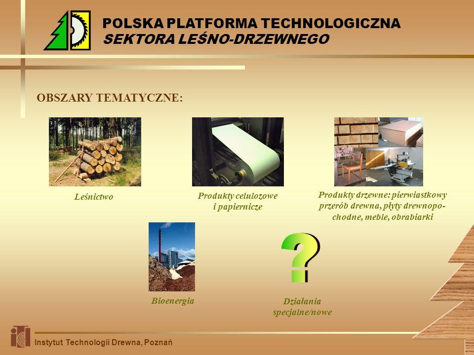 OBSZARY TEMATYCZNE: Instytut Technologii Drewna, Poznań Leśnictwo Produkty celulozowe i papiernicze Produkty drzewne: pierwiastkowy przerób drewna, pł