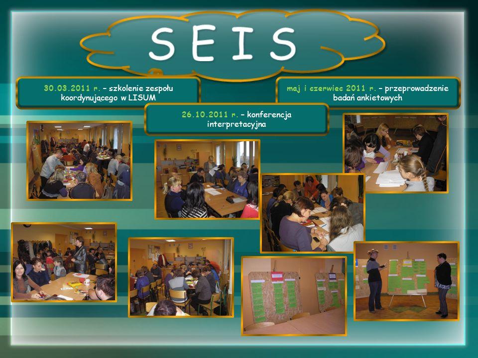30.03.2011 r. – szkolenie zespołu koordynującego w LISUM maj i czerwiec 2011 r. – przeprowadzenie badań ankietowych 26.10.2011 r. – konferencja interp