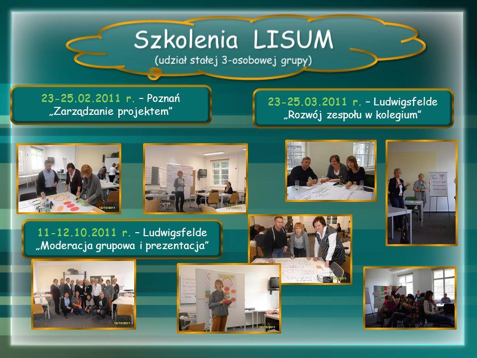 23-25.02.2011 r. – Poznań Zarządzanie projektem 11-12.10.2011 r. – Ludwigsfelde Moderacja grupowa i prezentacja 23-25.03.2011 r. – Ludwigsfelde Rozwój