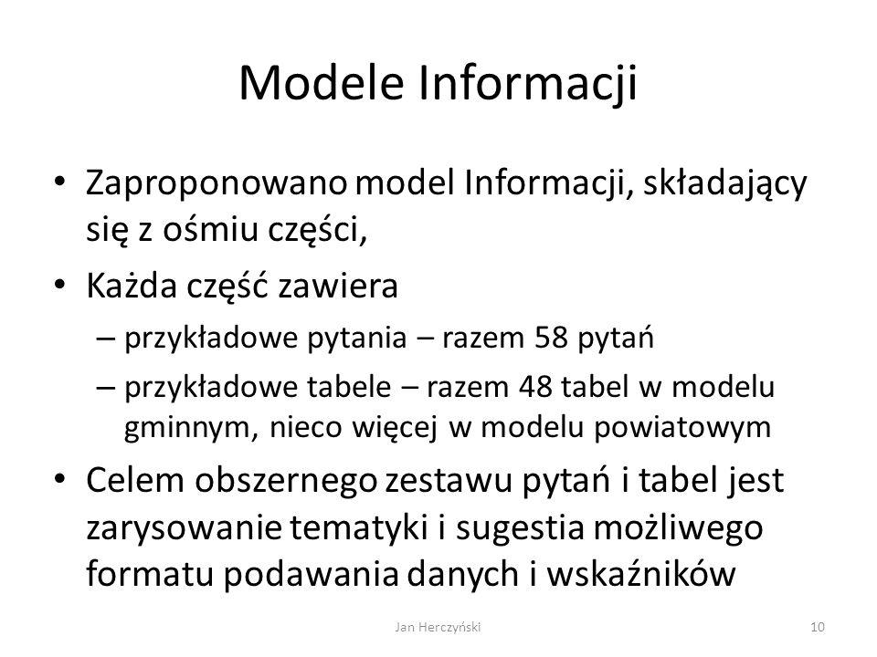 Modele Informacji Zaproponowano model Informacji, składający się z ośmiu części, Każda część zawiera – przykładowe pytania – razem 58 pytań – przykład