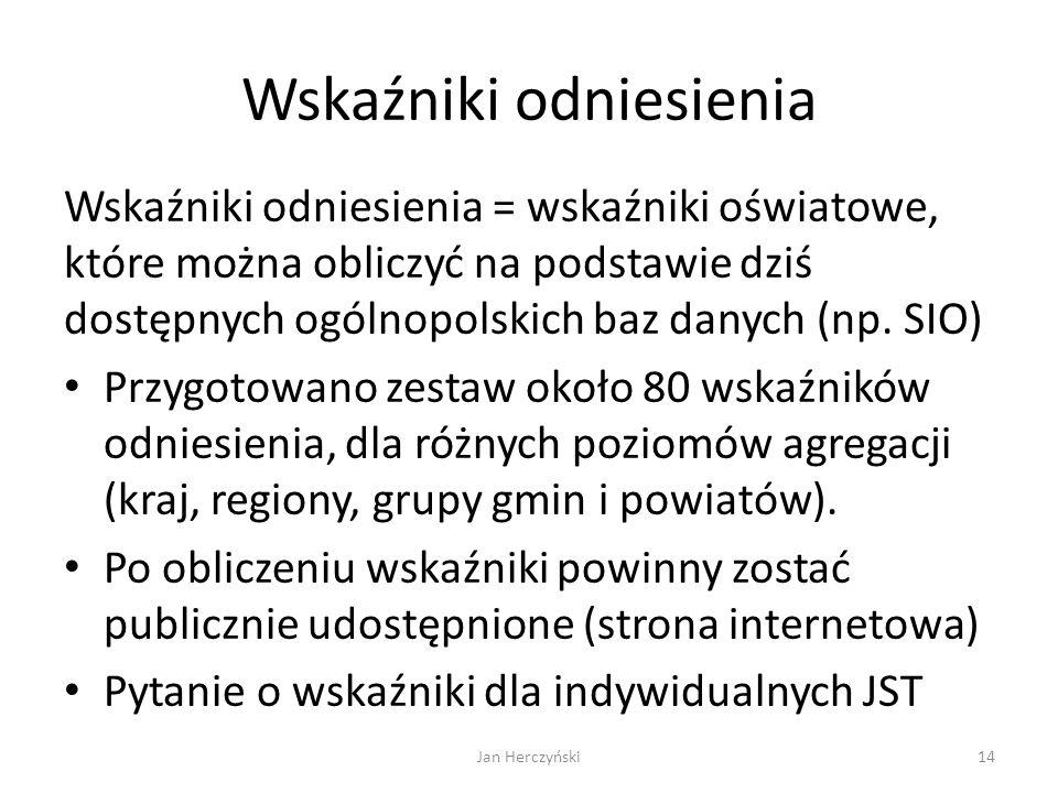 Wskaźniki odniesienia Wskaźniki odniesienia = wskaźniki oświatowe, które można obliczyć na podstawie dziś dostępnych ogólnopolskich baz danych (np. SI