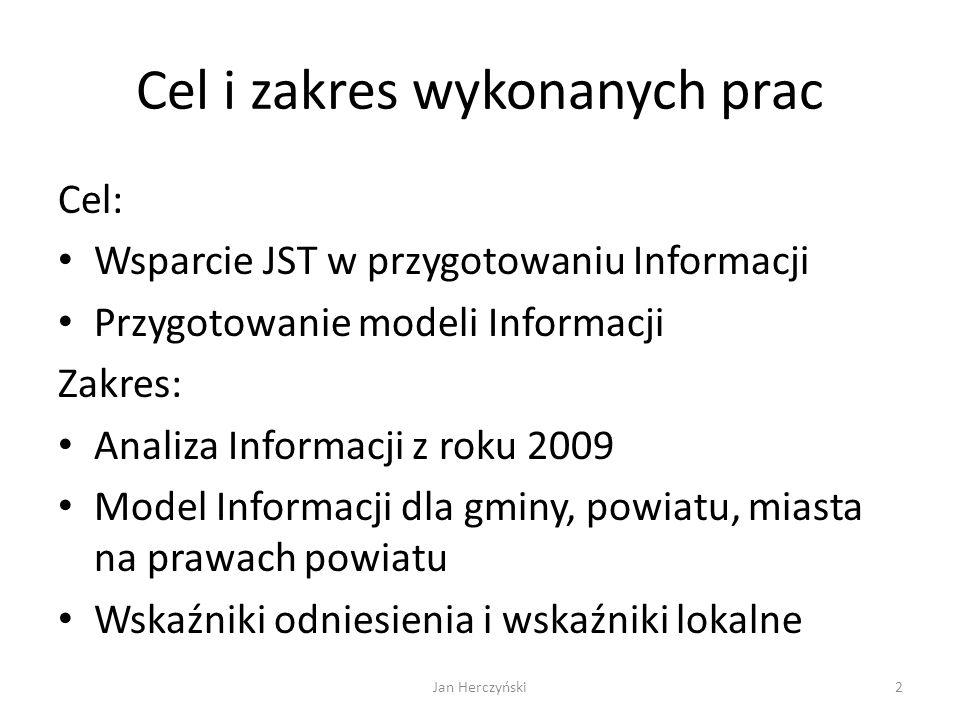 Cel i zakres wykonanych prac Cel: Wsparcie JST w przygotowaniu Informacji Przygotowanie modeli Informacji Zakres: Analiza Informacji z roku 2009 Model