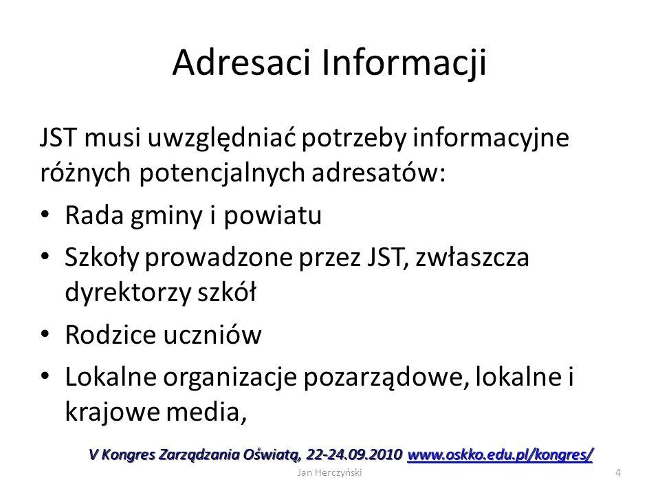 Adresaci Informacji JST musi uwzględniać potrzeby informacyjne różnych potencjalnych adresatów: Rada gminy i powiatu Szkoły prowadzone przez JST, zwła
