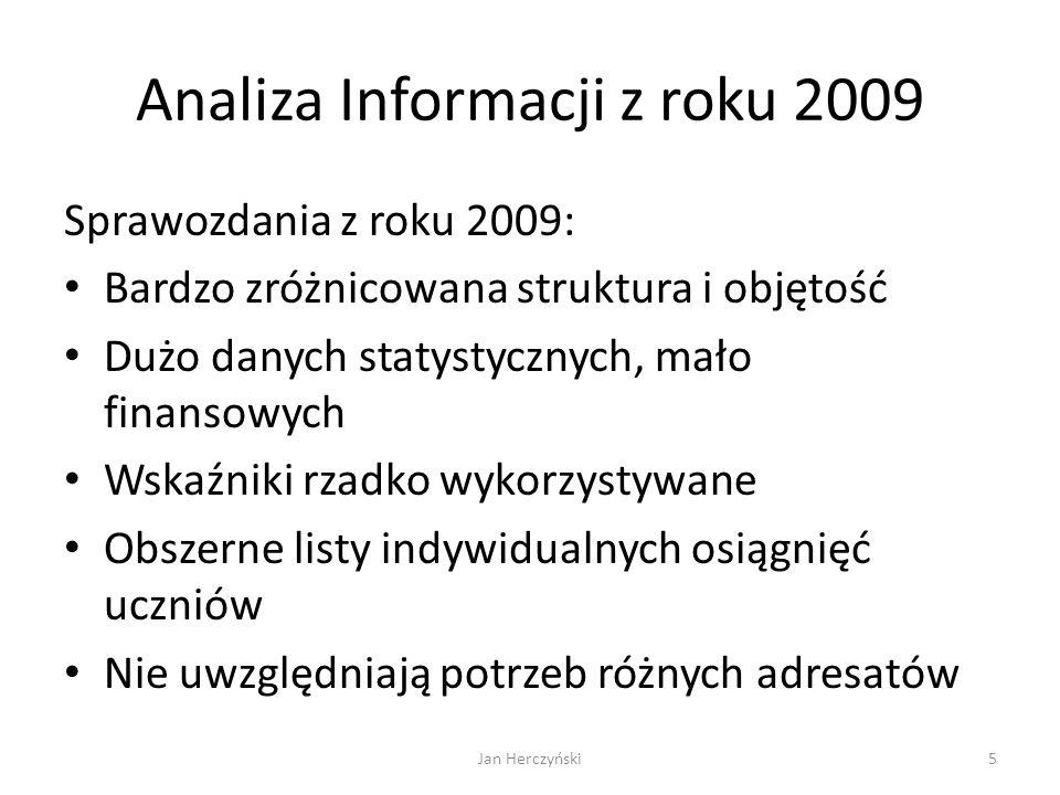 Analiza Informacji z roku 2009 Sprawozdania z roku 2009: Bardzo zróżnicowana struktura i objętość Dużo danych statystycznych, mało finansowych Wskaźni