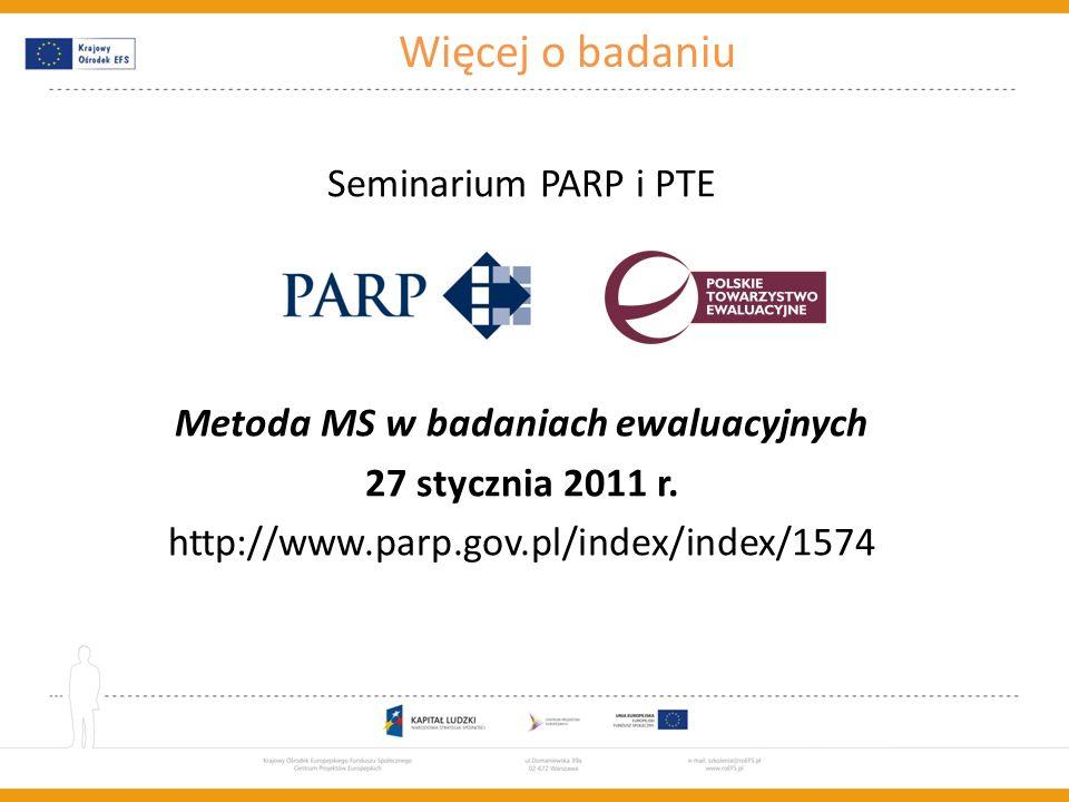 Szkolenie współfinansowane w ramach Unii Europejskiej w ramach Europejskiego Funduszu Społecznego Więcej o badaniu Seminarium PARP i PTE Metoda MS w b