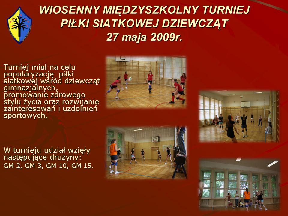 WIOSENNY MIĘDZYSZKOLNY TURNIEJ PIŁKI SIATKOWEJ DZIEWCZĄT 27 maja 2009r. Turniej miał na celu popularyzację piłki siatkowej wśród dziewcząt gimnazjalny