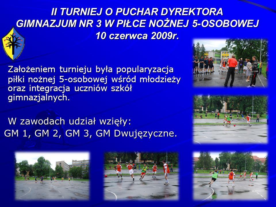 II TURNIEJ O PUCHAR DYREKTORA GIMNAZJUM NR 3 W PIŁCE NOŻNEJ 5-OSOBOWEJ 10 czerwca 2009r. Założeniem turnieju była popularyzacja piłki nożnej 5-osobowe