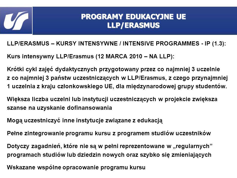 LLP/ERASMUS – KURSY INTENSYWNE / INTENSIVE PROGRAMMES - IP (1.3): aplikacja do 12 marca 2010, wniosek udostępniony najpóźniej 12 lutego 2010 uprawnione koszty: -organizacyjne (5500 – 6750 euro ?), -podróży, -utrzymania czas trwania: 10 kolejnych dni roboczych – 6 tygodni (pomiędzy 1.09.2010 a 31.08.2011) projekty jedno-, dwu- lub trzyletnie, w wypadku powtarzanych – inna grupa odbiorców lub inne (pokrewne) zagadnienia w kursie ma uczestniczyć od 10 do 60 studentów dofinansowanie kosztów podróży i utrzymania dla maksymalnie 20 nauczycieli akademickich maksymalnie 5 studentów na jednego pracownika maksymalne dofinansowanie – 75% PROGRAMY EDUKACYJNE UE LLP/ERASMUS