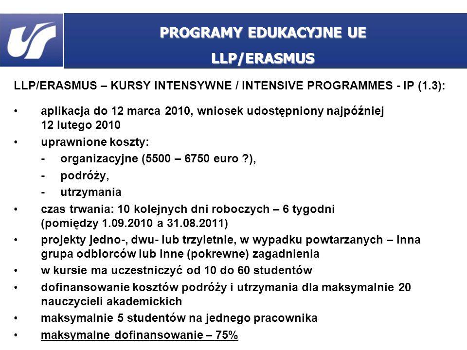 LLP/ERASMUS – KURSY INTENSYWNE / INTENSIVE PROGRAMMES - IP (1.3): aplikacja do 12 marca 2010, wniosek udostępniony najpóźniej 12 lutego 2010 uprawnion