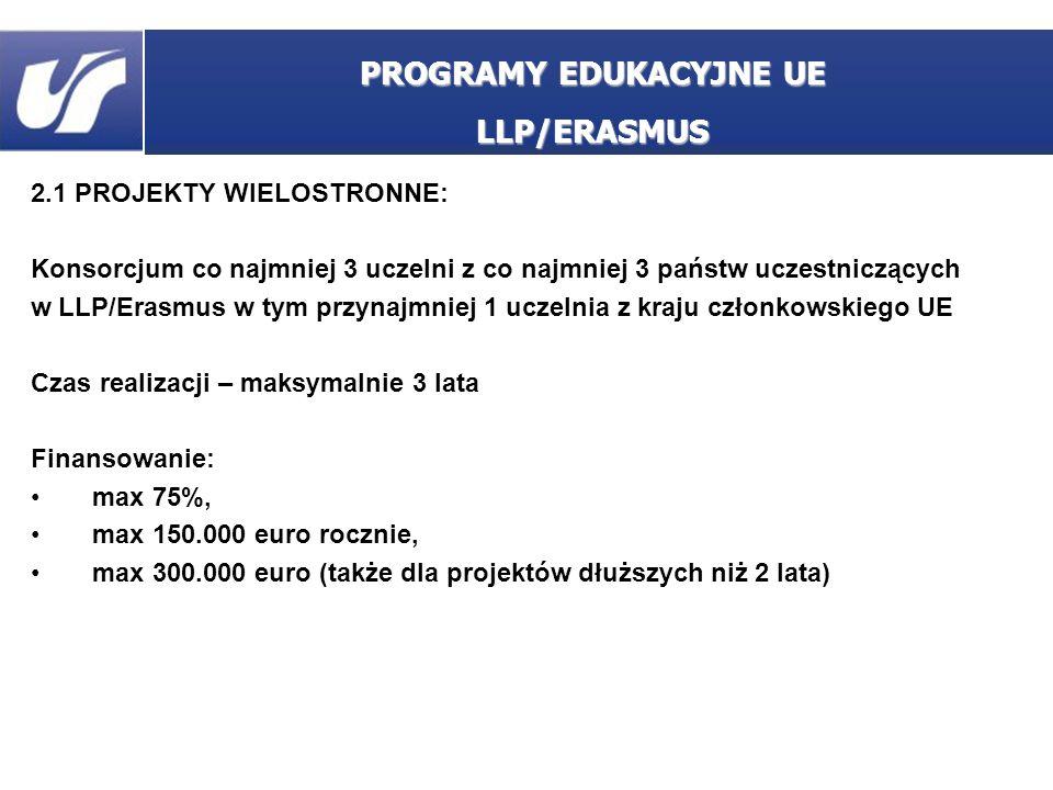 2.1 PROJEKTY WIELOSTRONNE: Konsorcjum co najmniej 3 uczelni z co najmniej 3 państw uczestniczących w LLP/Erasmus w tym przynajmniej 1 uczelnia z kraju